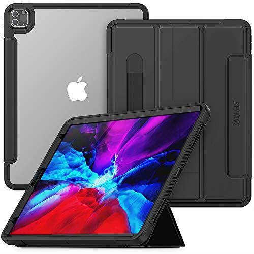iPad Pro 12.9 ケース 海外限定 フィルム付き ペン収納 磁気スタンド 透き通った背面 オートスリープ ウェーク機能 Pro12.9 ブラック 2020 バーゲンセール インチ 型崩れしにくい 全身保護 2018 第4世代 第3世代