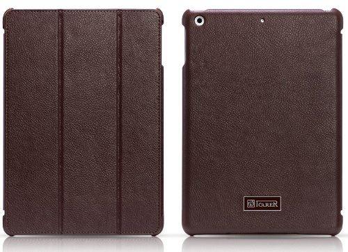 【品】 ICARER プレミアムPUレザー フリップケース for iPad Air 全4色 オートスリープ機能付 Honourable Series 【iCARER  SmartCaseオリジナルセット】 RID502 ブラウン