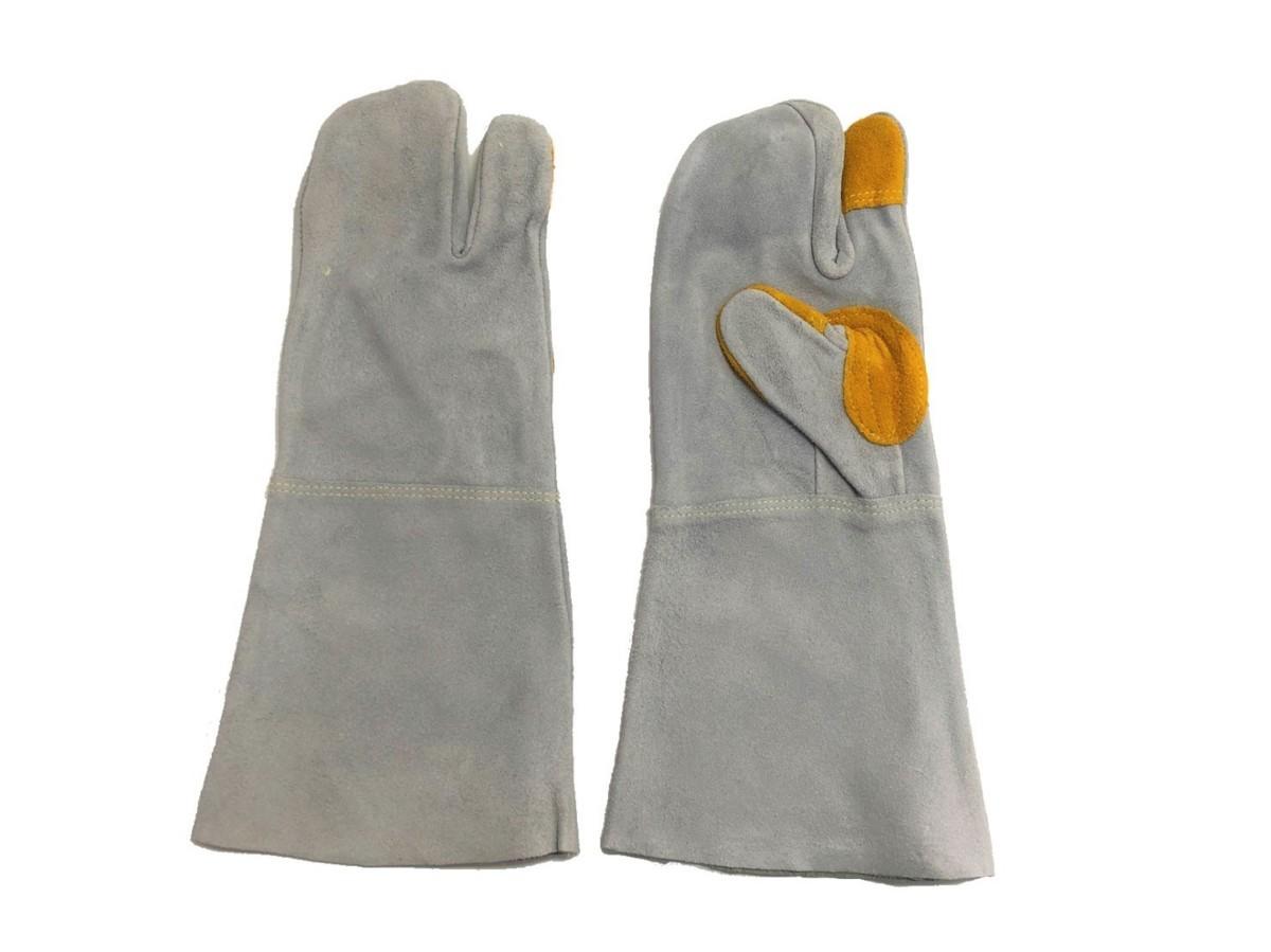 溶接業、鉄鋼業、建設業作業用 3本指牛革手袋(長さ 約36cm) 3個所 あて付き! 50束セット