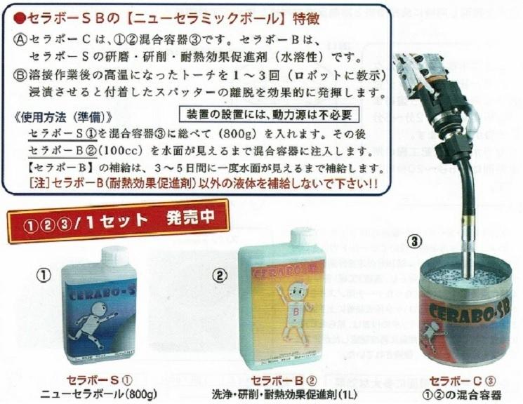 ロボット CO2トーチ ノズルのスパッタ防止&除去用 セラボーSB CERABO-SB 1セット 日本製
