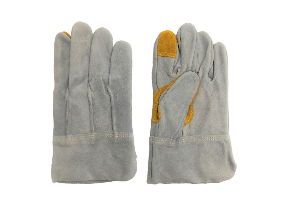 溶接業、鉄鋼建設作業用革手 5本指牛革手袋  長さL:25cm  3カ所あて付き! 100束セット