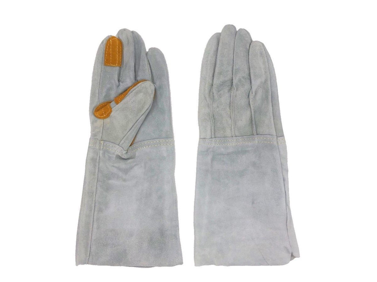 溶接業、鉄鋼業、建設業作業用 5本指牛革手袋(35cm位) 3個所 あて付き! 柔らかいタイプ 50双セット