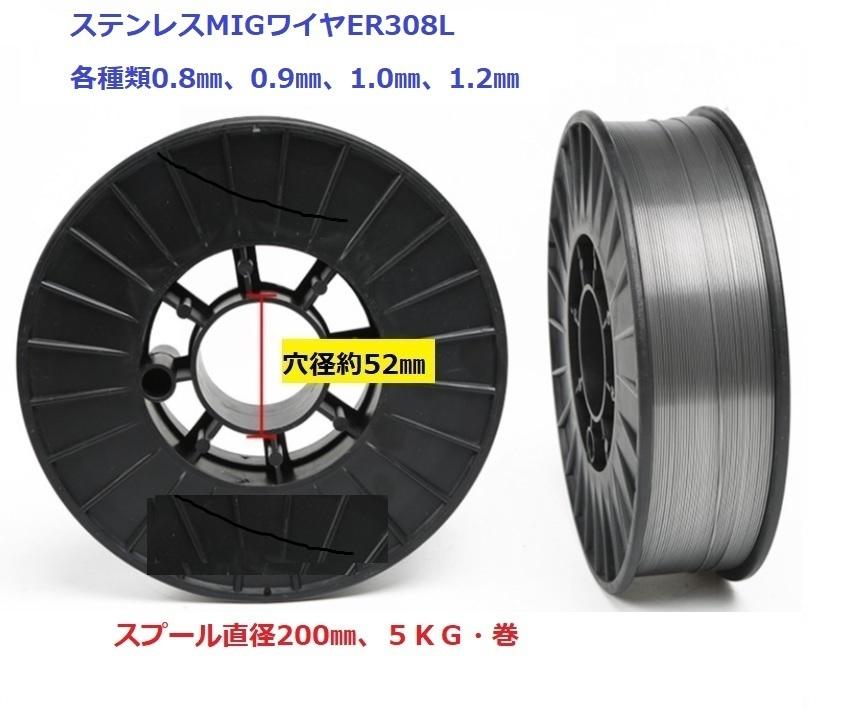 ステンレス用 MIGソリッドワイヤ ER308L YS308L相当 1.0mm×5kg・巻 1巻単価 在庫分だけ
