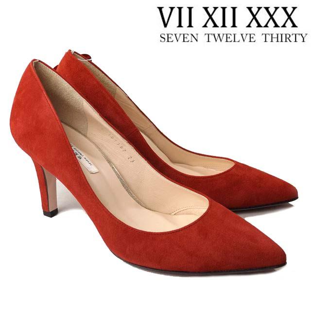 【送料無料】 VII XII XXX セヴントゥエルヴサーティ 105187 レッドスエード ポインテッドトゥパンプス