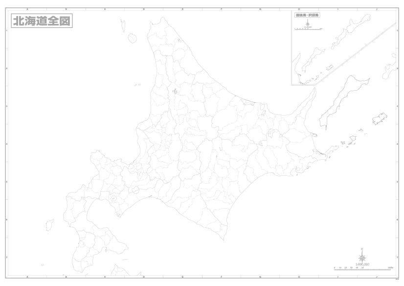 A0判北海道白地図ポスター