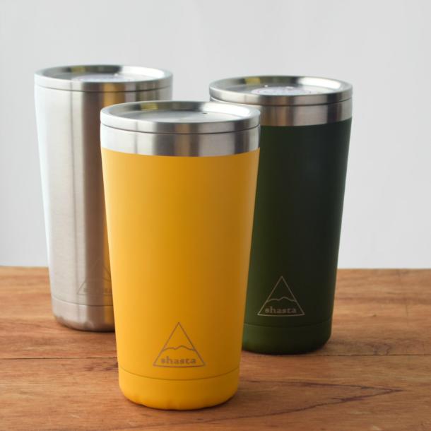 熱々コーヒーから冷え冷えビールまで ホットもアイスも美味しい温度で飲めます おまけつき 保冷 保温 抜群 18-8ステンレスタンブラー ソリッドカラー オールステンレス 蓋つき 450ml ビアマグ 魔法瓶 shasta USA発 復刻 直飲み 新作アイテム毎日更新 18-8ステンレス製 売買 コーヒー 水筒 RE:bottle水筒