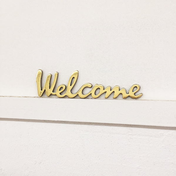 ☆送料無料☆ 当日発送可能 DUVE SL195P 真鍮製 大規模セール サインレター Welcome SIGN LETTER サインプレート ブラス Brass おしゃれ アイアン カントリー アンティーク調 ウエルカム 交換