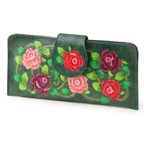 【メール便OK】【日本製】薄型長財布「手描き蔓バラ(グリーン)」