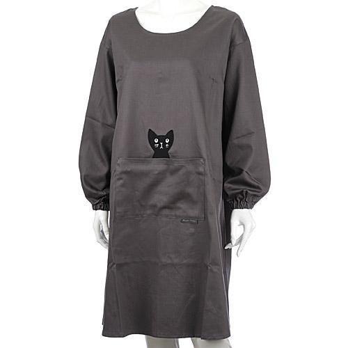 市場価格 激安☆超特価 マタノアツコ ATSUKO MATANO 初回限定 日本製 かつらぎのひょっこり黒猫 グレー 背ボタン型かっぽう着