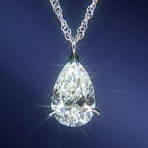 純プラチナ台大粒1ctペアシェイプカット天然ダイヤモンドペンダントネックレス