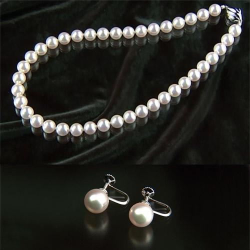 オーロラ花珠「エクセレント」9~9.5mm和珠高級本真珠ネックレス&9mm以上イヤリング