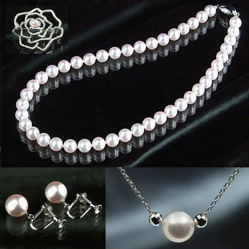 オーロラ花珠「エクセレント」8.5~9mm大玉高級本真珠ネックレス&8.5mm以上イヤリング&ペンダント&7mmブローチ付
