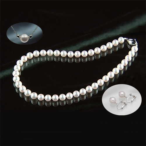 オーロラ花珠9~9.5mm和珠高級本真珠ネックレス&イヤリング&ペンダント