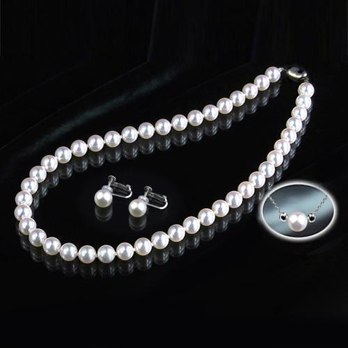 花珠8~8.5mm大玉高級本真珠ネックレス&8mm以上イヤリング・ペンダント付