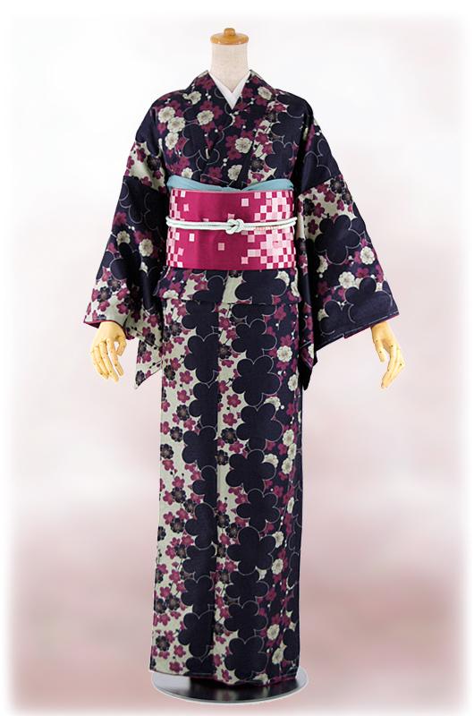 Washable kimono newly made fine pattern lined kimono four points set - free size