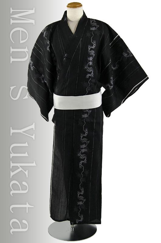 【送料無料】変わり織男浴衣3点セット「昇竜」黒
