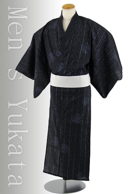 【送料無料】変わり織男浴衣3点セット「龍」黒