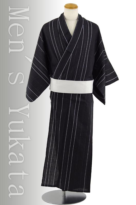 【送料無料】変わり織男浴衣3点セット「縞」黒