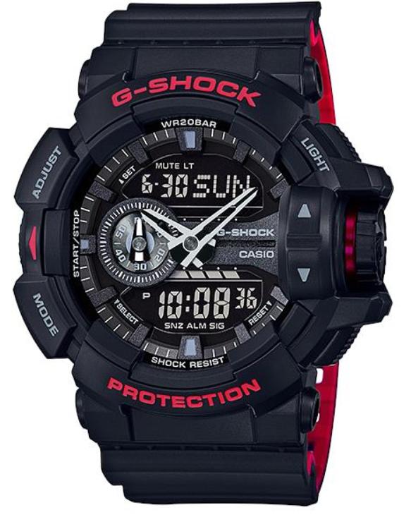 【あす楽対応商品】カシオG-SHOCK海外モデルロータリースイッチ「Black & Red Series(ブラック&レッドシリーズ)」GA-400HR-1A