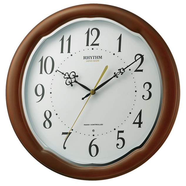 【お取寄せ品】リズム時計製電波掛時計「フィットウェーブアヤW」8MY513SR06