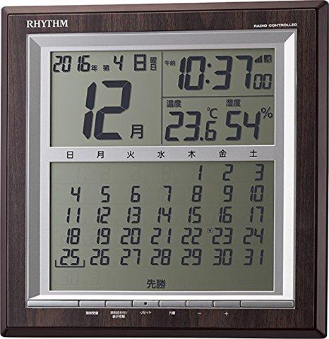 【お取寄せ品】リズム時計製電波掛時計「フィットウェーブカレンダーD178」8RZ178SR23