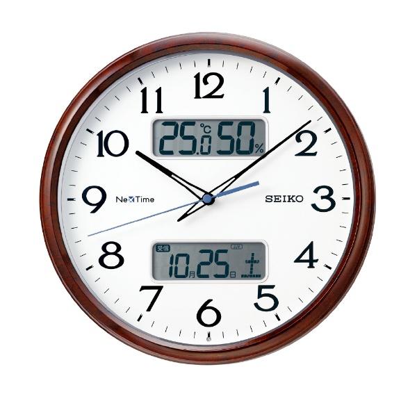 【お取寄せ品】セイコークロック電波掛時計カレンダー、温度・湿度表示つき電波掛時計ZS252B