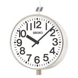 """【お取寄せ品】セイコー製 電波掛時計 システムクロック""""ソーラー式""""(両面ポール型)QFC-787R"""