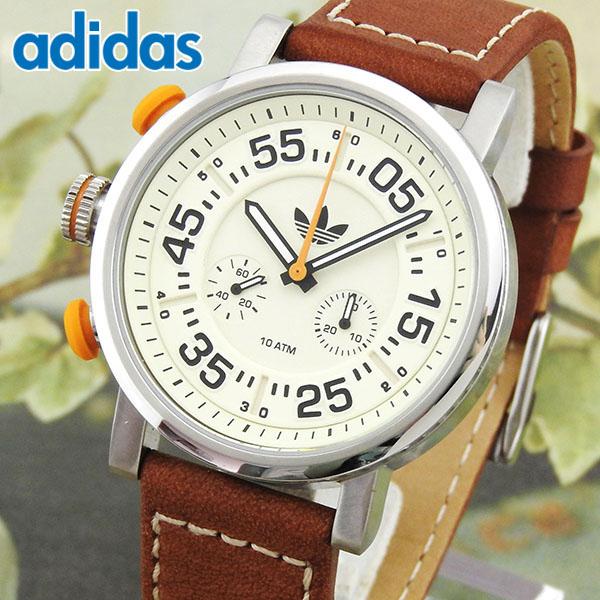 【送料無料】 adidas アディダス INDIANAPOLIS インディアナポリス ADH9075 海外モデル メンズ 腕時計 ウォッチ 革ベルト レザー クオーツ アナログ 茶 ブラウン アイボリー 誕生日プレゼント 男性 女性 ギフト