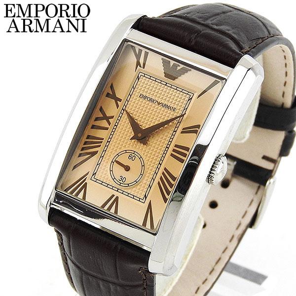 【送料無料】 EMPORIO ARMANI エンポリオアルマーニ メンズ 腕時計 時計 watch ウォッチ 濃茶 ブラウン 革ベルト レザーバンド シルバー AR1605 海外モデル 誕生日プレゼント ギフト 還暦