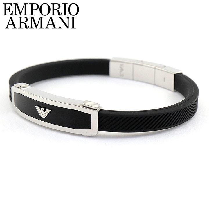 EMPORIO ARMANI エンポリオアルマーニ ブレスレット イーグルマーク イーグルロゴ メンズ メタル シリコン ラバー 黒 ブラック 銀 シルバー EGS1543040 誕生日 男性 父の日 ギフト プレゼント 海外モデル