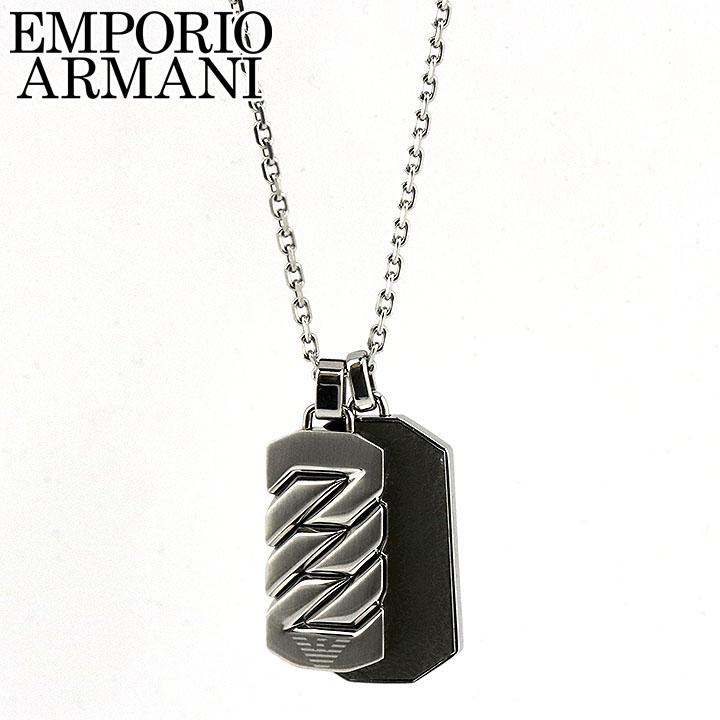 EMPORIO ARMANI エンポリオアルマーニ ネックレス ペンダント イーグルロゴ メンズ 銀 シルバー マットブラック ダブルプレート EGS2437040 誕生日 男性 父の日 ギフト プレゼント 海外モデル