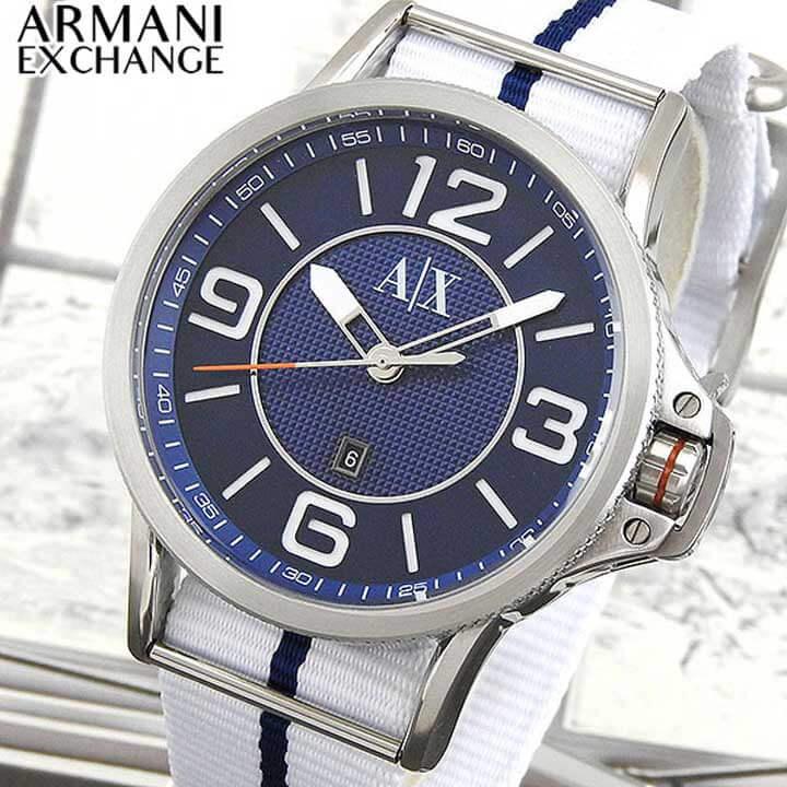 【送料無料】 ARMANI EXCHANGE ax armani exchange アルマーニ エクスチェンジ メンズ 青 腕時計 時計 ウォッチ watch ナイロン バンド 白 ホワイト ネイビー クオーツ アナログ AX1580 海外モデル 誕生日プレゼント ギフト