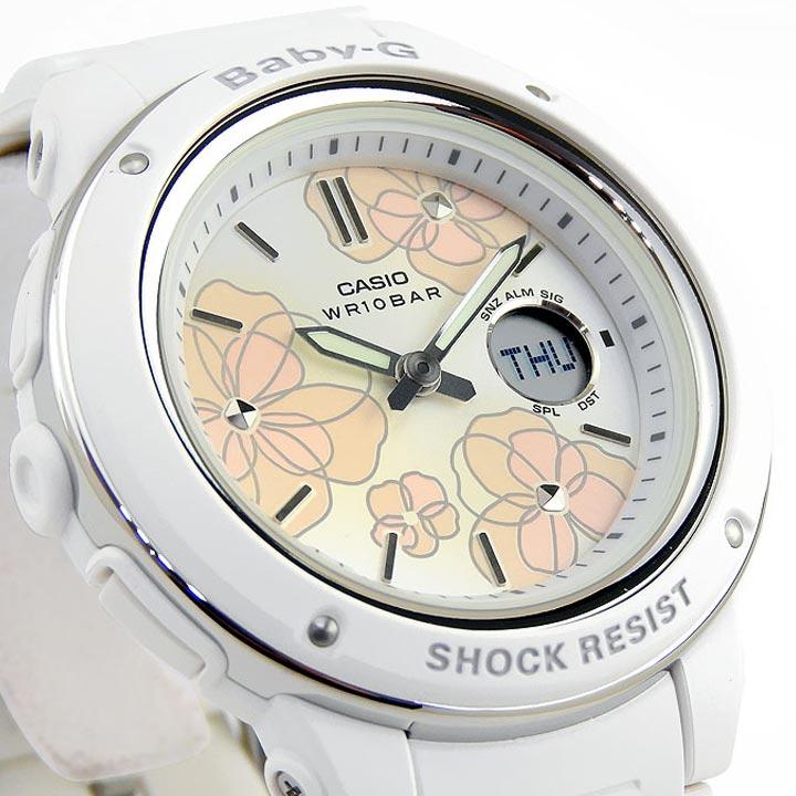 CASIO カシオ Baby-G ベビ−G Floral Dial Series BGA-150FL-7A レディース 腕時計 多機能 クオーツ アナログ デジタル 白 ホワイト ピンク 海外モデル