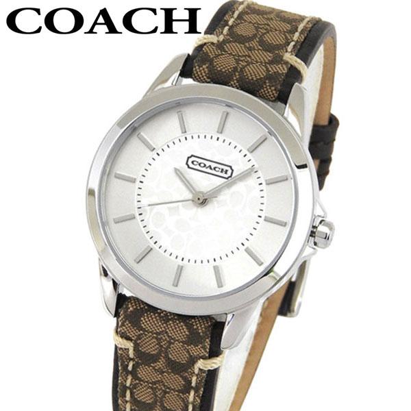 COACH コーチ 14501525 Classic Signature クラシック シグネチャー レディース 腕時計 カーキ系 レザーバンド アナログ 白 ホワイト文字盤 海外モデル 誕生日プレゼント 女性 ギフト ブランド