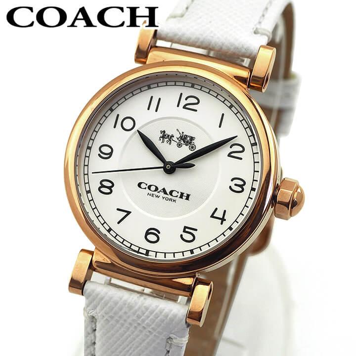 【先着!250円OFFクーポン】COACH コーチ 14502408 レディース 腕時計 革ベルト レザー ピンクゴールド ホワイト 白色 誕生日プレゼント 女性 ギフト 海外モデル
