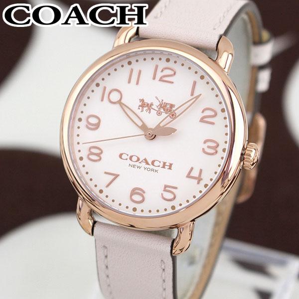 COACH コーチ DELANCEY デランシー 14502716 海外モデル レディース 腕時計 ウォッチ 革ベルト レザー クオーツ アナログ 白 ホワイト ピンク 金 ピンクゴールド 誕生日プレゼント 女性 ギフト ブランド