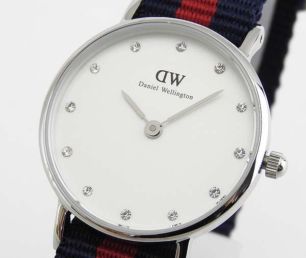 Daniel Wellington ダニエルウェリントン 26mm レディース 腕時計 時計紺 赤ナイロンベルト アナログ シルバー 0925DW 並行輸入品 誕生日プレゼント 卒業祝い 入学祝い ギフト 商品到着後レビューを書いて2年保証 ブランド
