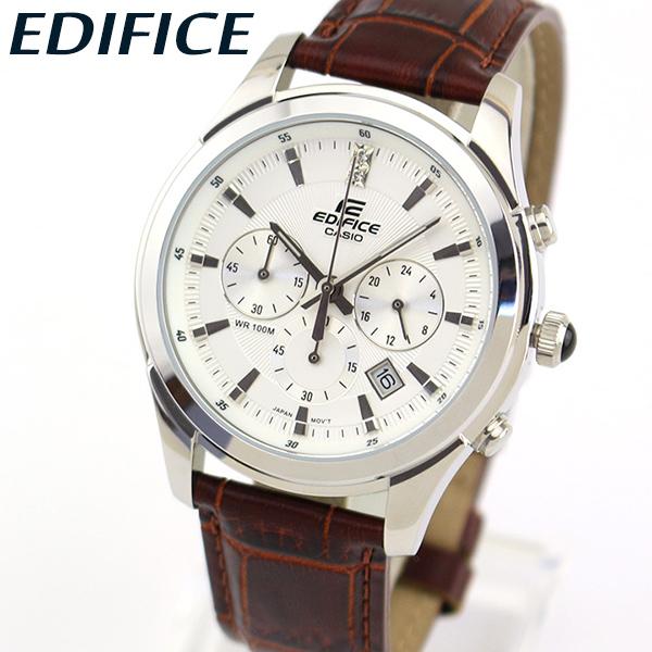 【送料無料】 CASIO カシオ EDIFICE エディフィス EFR-517L-7AV メンズ 腕時計 革ベルト レザー クロノグラフ カレンダー クオーツ アナログ 白 ホワイト 茶 ブラウン 銀 シルバー 海外モデル 還暦