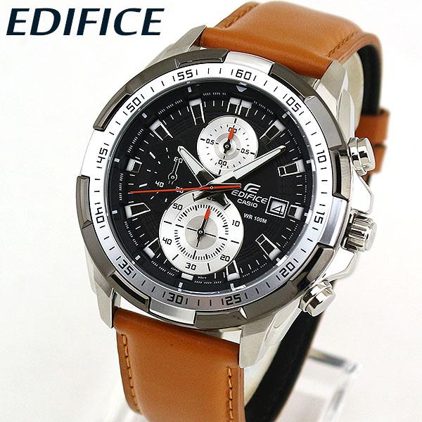 【送料無料】CASIO カシオ EDIFICE エディフィス EFR-539L-1BV メンズ 腕時計 革ベルト レザー クロノグラフ 黒 ブラック 茶 ブラウン 海外モデル 還暦 卒業祝い 入学祝い ギフト ブランド