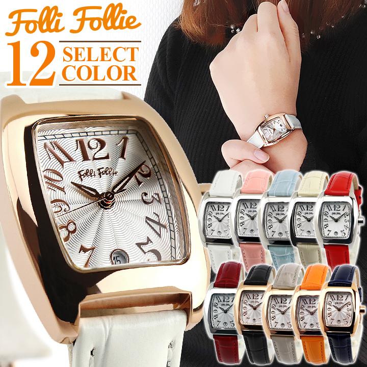 【送料無料】Folli Follie フォリフォリ S922 WF5R080SDS レディース 腕時計 レザー 革 白 ホワイト ピンク 水色 アイボリー 赤 レッド オレンジ ブラック 黒 グレージュ ネイビー 誕生日プレゼント 女性 ホワイトデー ギフト 女の子