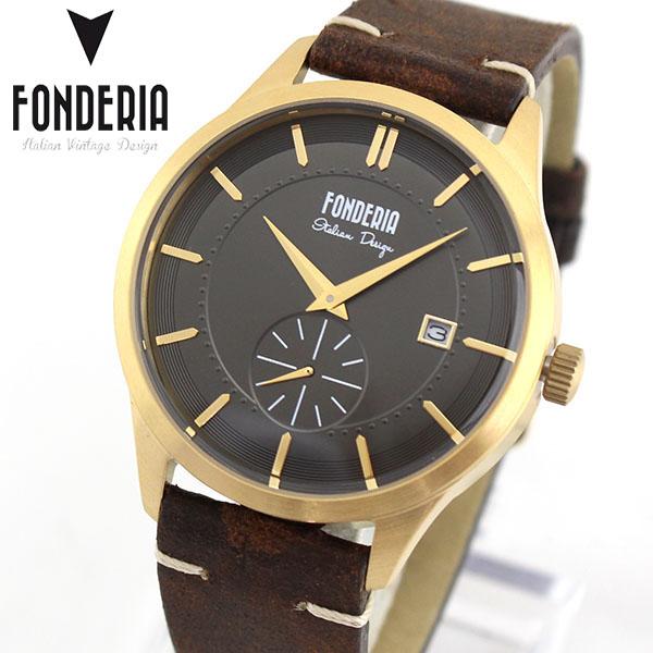 【送料無料】FONDERIA フォンデリア STRAMLINER ストリームライナー メンズ 腕時計 革バンド レザー クオーツ アナログ 茶 ブラウン 金 ゴールド 卒業祝い 入学祝い ギフト ブランド