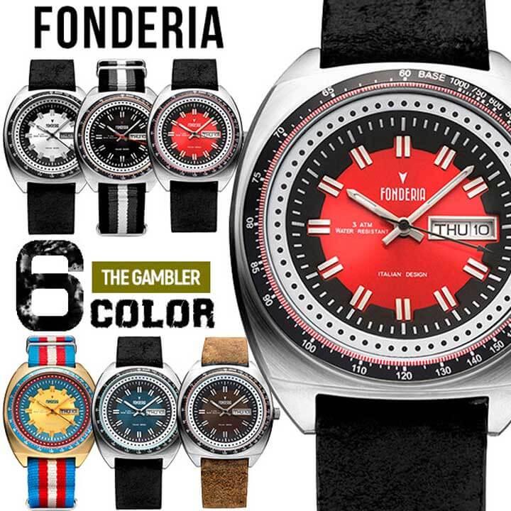 【送料無料】 FONDERIA フォンデリア THE GAMBLER ザ ギャンブラー メンズ 腕時計 革バンド レザー ナイロン クオーツ アナログ 黒 ブラック 赤 レッド 青 ブルー 茶 ブラウン 金 ゴールド 銀 シルバー