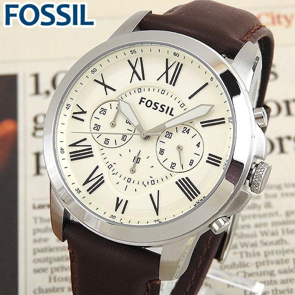 【送料無料】 FOSSIL フォッシル FS4735 海外モデル メンズ 腕時計 ウォッチ 革ベルト レザー クロノグラフ クオーツ カジュアル アナログ 白 ホワイト 茶 ブラウン