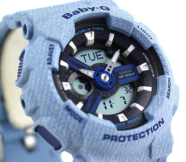 【】 CASIO カシオ Baby-G ベビ−G DENIM'D COLOR デニムドカラー BA-110DE-2A2 レディース 腕時計 ウレタン 黒 ブラック 青 ブルー 海外モデル 商品到着後レビューを書いて3年保証 誕生日プレゼント 女性 ギフト