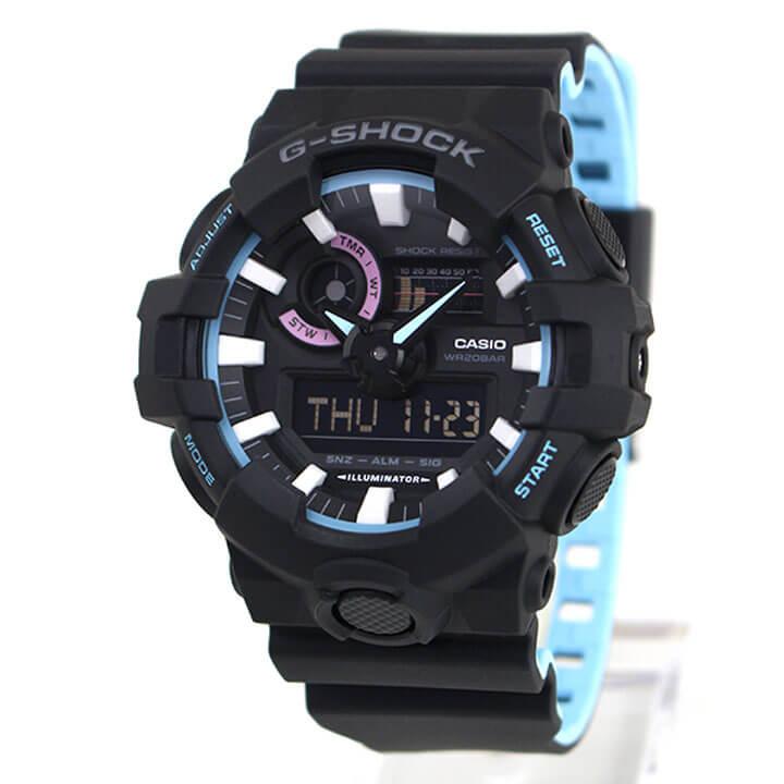 CASIO カシオ G-SHOCK Gショック ジーショック Neon accent color ネオンアクセントカラー GA-700PC-1A メンズ 腕時計 黒 ブラック 青 ブルー 海外モデル 商品到着後レビューを書いて3年保証 卒業祝い 入学祝い ギフト ブランド