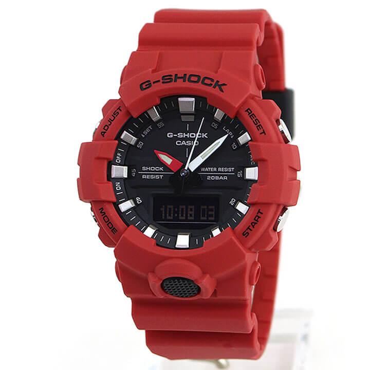【】 CASIO カシオ G-SHOCK Gショック ジーショック GA-800-4A メンズ 腕時計 アナログ デジタル 黒 ブラック 赤 レッド 商品到着後レビューを書いて3年保証
