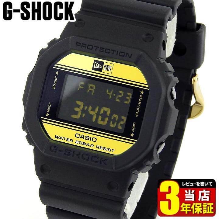 【送料無料】 G-SHOCK Gショック 35周年 ニューエラ コラボモデル 限定モデル CASIO カシオ ジーショック DW-5600NE-1 メンズ 腕時計 デジタル 黒 ブラック 金 ゴールド 誕生日プレゼント 男性 ギフト 海外モデル