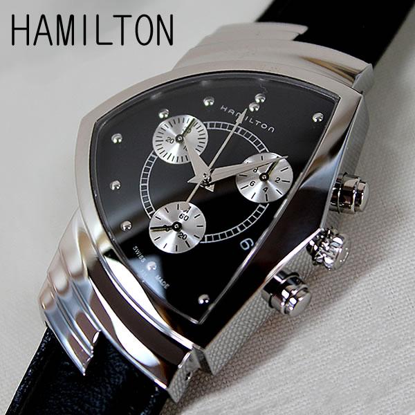【クーポンで2000円OFF!12/11 1:59まで】【送料無料】 HAMILTON ハミルトン ベンチュラ MIB クロノグラフ メンズ 腕時計 新品 時計 ブランド ウォッチ アナログ 黒 ブラック レザー H24412732 海外モデル 還暦