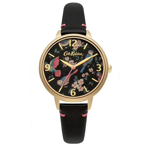 Cath Kidston キャスキッドソン CKL001BG レディース 腕時計 革ベルト レザー クオーツ アナログ 黒 ブラック 金 ゴールド 鳥 花 海外モデル