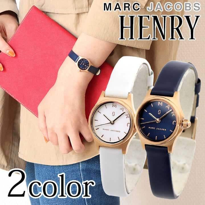 レザー 革ベルト クオーツ HENRY ギフト ネイビー 女性 レディース 腕時計 おしゃれ ジェイコブス MJ1610 アナログ カジュアル 誕生日プレゼント ホワイト Jacobs かわいい 白 ヘンリー 海外モデル マーク MJ1611 青 Marc